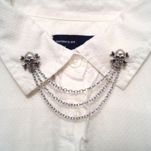 Silver Skull Collar Pins Sweater Clips